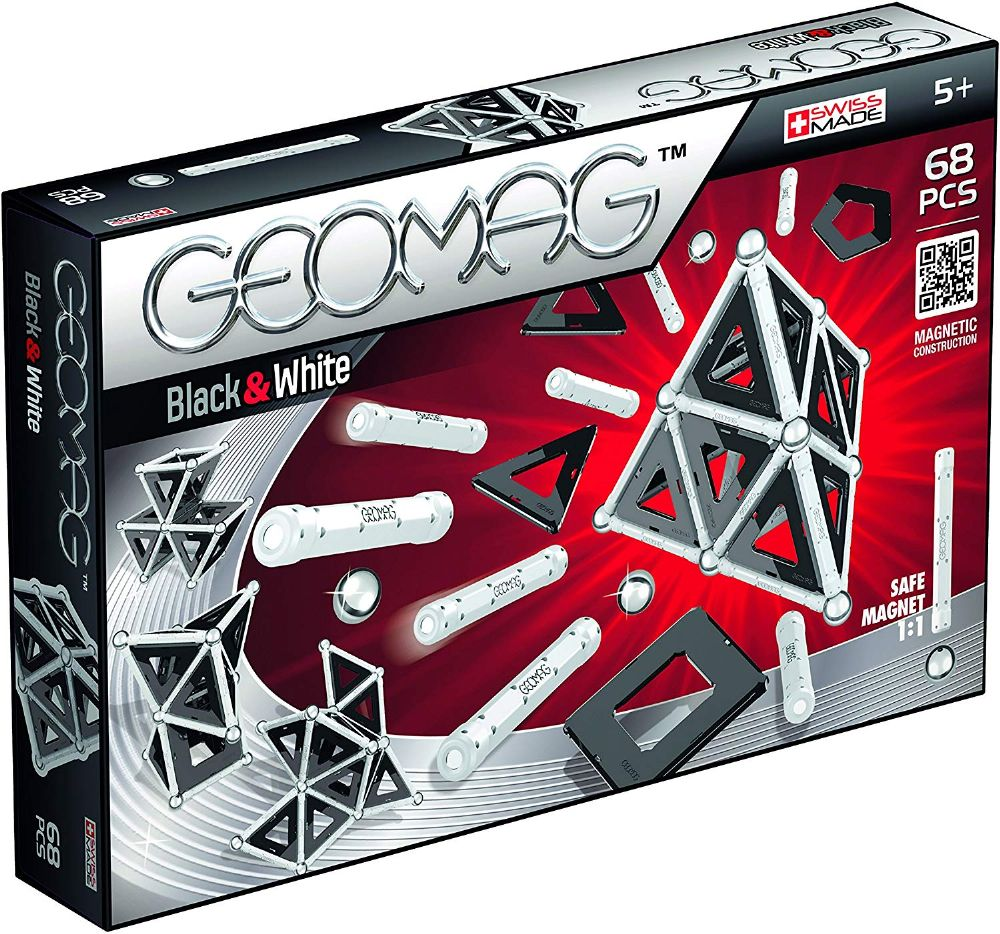 Geomag 012 Black and White Magnetic Construction 68pcs Toy Gift Set
